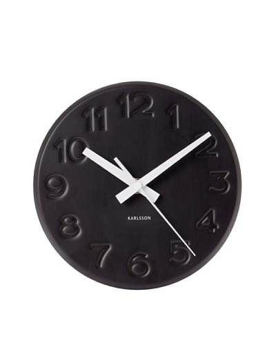 Karlsson Engraved Numbers Steel Wall Clock, Black