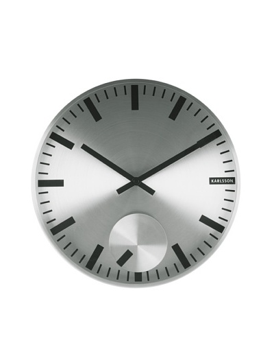 Karlsson Moving Index Steel Wall Clock, Silver
