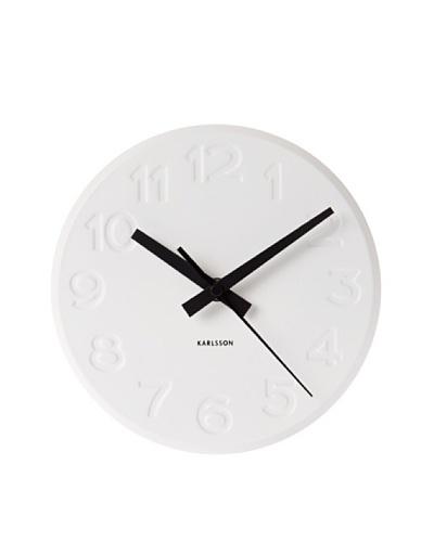 Karlsson Engraved Numbers Steel Wall Clock, White