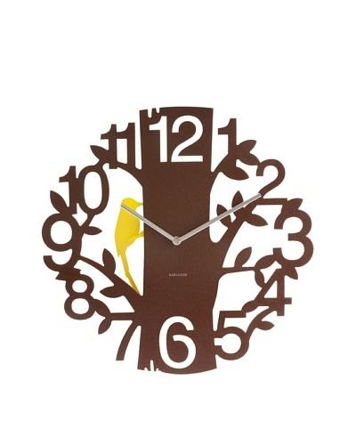 Karlsson Woodpecker Wall Clock, Brown