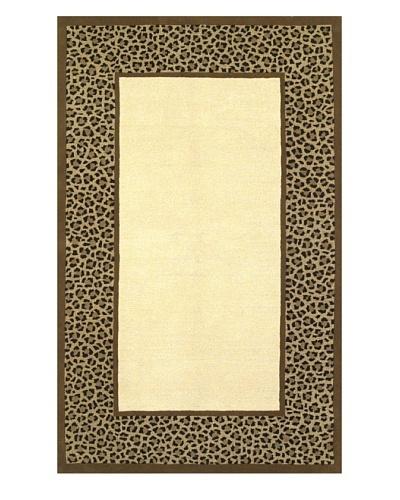 Kas Leopard Border Rug, Ivory/Coffee, 5' x 8'