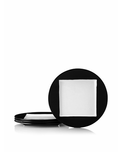 Kate Spade Saturday Set of 4 Square-in-Circle Accent Plates, Black/White