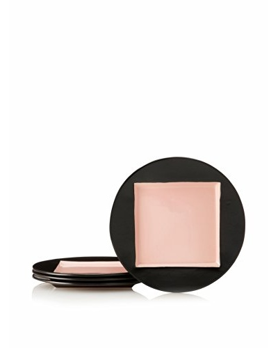Kate Spade Saturday Set of 4 Square-in-Circle Accent Plates, Black/Blush