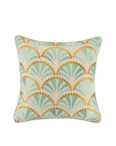 Kate Spain Talavera II Embellished Down Pillow, Teal/Gold, 16 x 16