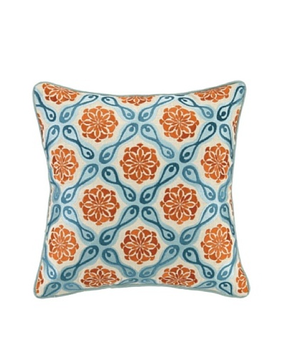 Kate Spain Bahir I Embellished Down Pillow, Orange/Teal, 16 x 16