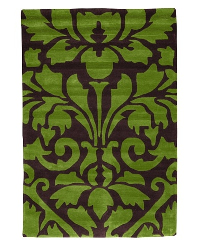 Kavi Handwoven Rugs Contemporary Rug, Green/Purple, 4' x 6'