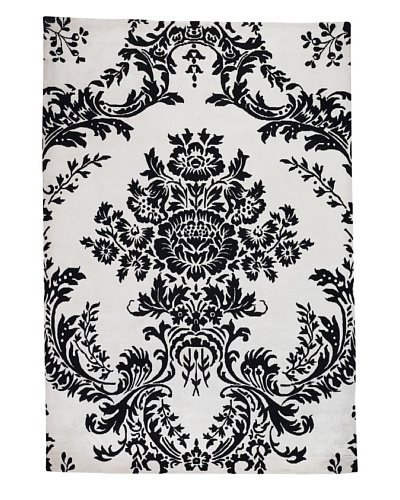 Kavi Handwoven Rugs Flocked Rug [Black/White]