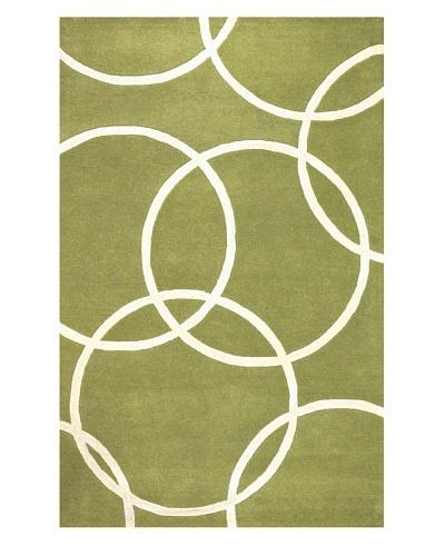 Kavi Handwoven Rugs Falling Circles Rug [Green/White]