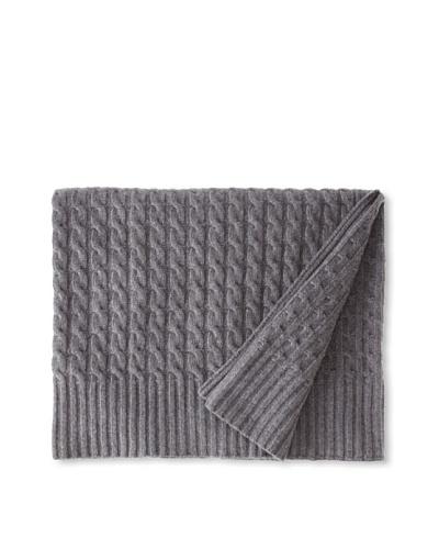 """Sofia Cashmere Veneto Classic Cable-Knit Throw, Smog, 50"""" x 60"""""""