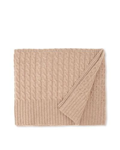 Sofia Cashmere Veneto Classic Cable-Knit Throw, Dark Natural, 50 x 60