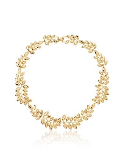 Kenneth Jay Lane Gold Stones Leaf Necklace