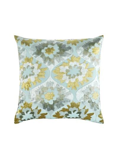 Kevin O'Brien Studio Hand-Printed Devore Velvet Puff Flower Pillow