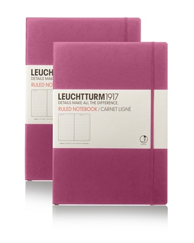 Kikkerland Set of 2 Leuchtturm Large Book Lined, Pink