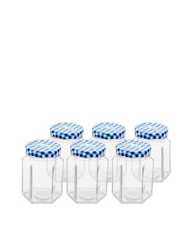 Kilner Set of 6 Blue/White Hexagonal Twist Top .1L/3.7 fl oz. Jars