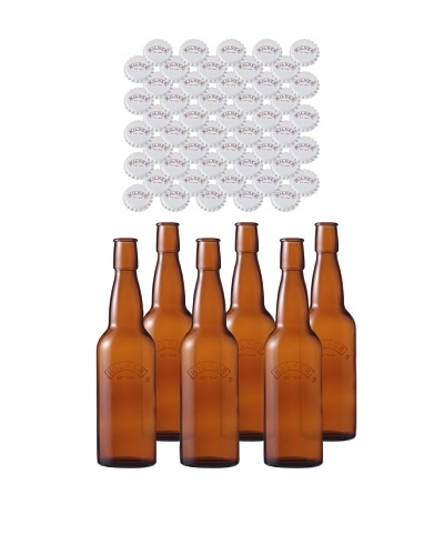 Kilner Set of 6 Home Brew .5L/16fl oz. Bottles with Crown Caps
