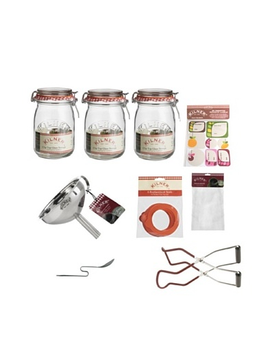 Kilner Set of 3 Clip Top Jars & Preserving Kit