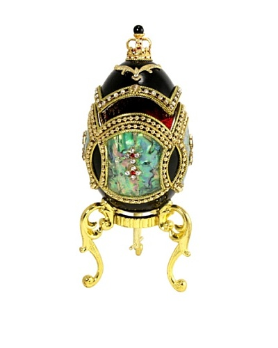 Kingspoint Designs Hand Painted Egg Musical Box Adorned with Crystals and Mother of Pearl, Black/Gol...