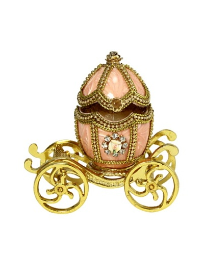 Kingspoint Designs Hand Painted Egg Carousel Jewelry Box, Gold