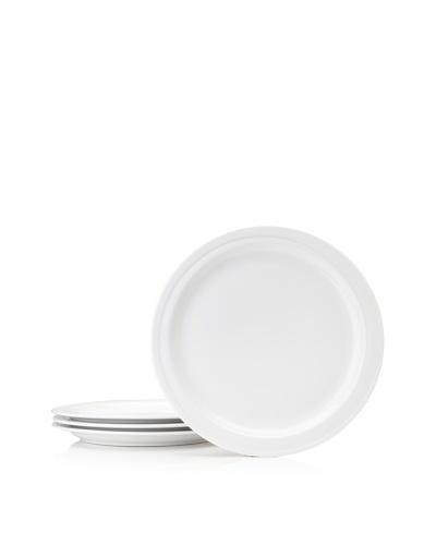 Set Of 4 Hotel Line Dinner Plates, White, 10''