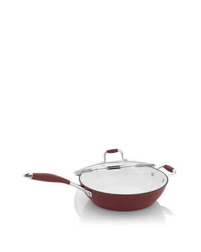 Fagor Michelle B. 4-1/2-Quart Cast Iron Lite Chicken Fryer with Glass Lid, Red