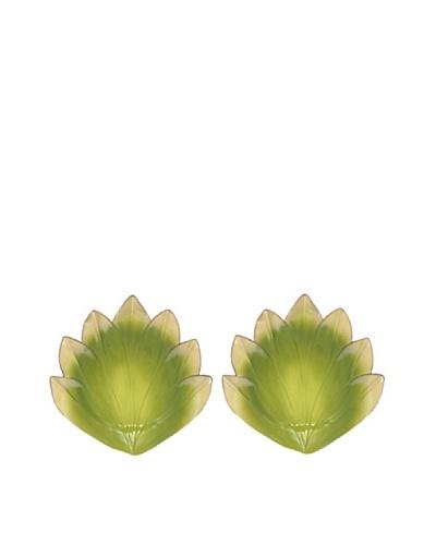 Mustardseed and Moonshine Set of 2 Gladiola Dinner Plates, Green