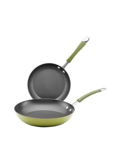 """KitchenAid Aluminum Nonstick 9"""" and 11.5"""" Skillet Twin Pack, Harvest Green"""
