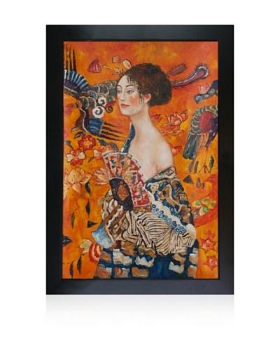 Gustav Klimt Signora Con Ventaglio Framed Oil Painting