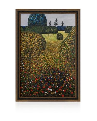 Gustav Klimt Field of Poppies Framed Oil Painting