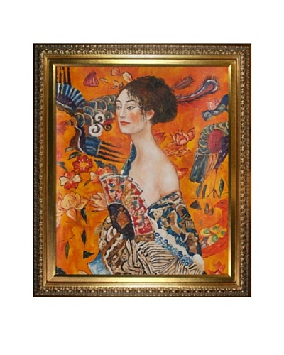 Gustav Klimt Signora con Ventaglio Interpretation Framed Oil Painting