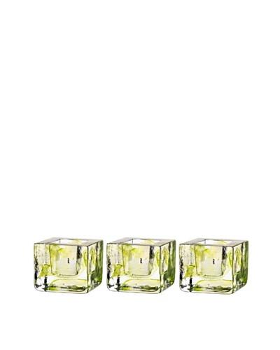 Kosta Boda Set of 3 Brick Votives, Lime, 3