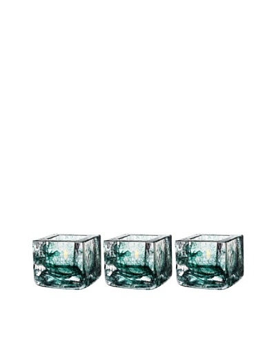 Kosta Boda Set of 3 Brick Votives, Green, 3