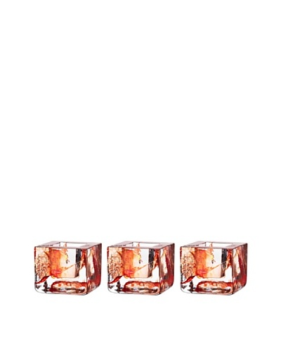 Kosta Boda Set of 3 Brick Votives, Orange, 3