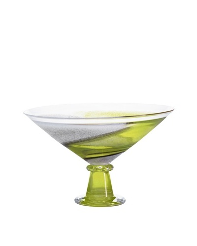 Kosta Boda Twister Footed Bowl, Green, 8.5""