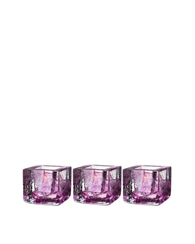 Kosta Boda Set of 3 Brick Votives, Purple, 3