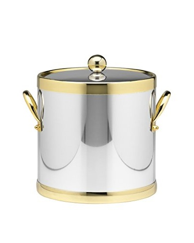 Kraftware Polished Chrome & Brass 3-Qt. Double Metal Handled Ice Bucket
