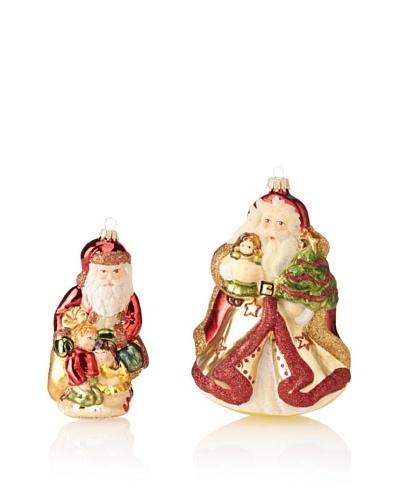 Krebs Glas Lauscha English Santa with Children & Swiss Santa with Doll Set