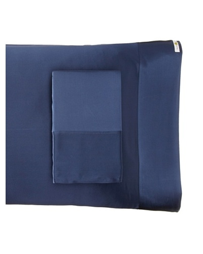 Kumi Kookoon Set of 2 Silk Pillowcases, Indigo, 20 x 32