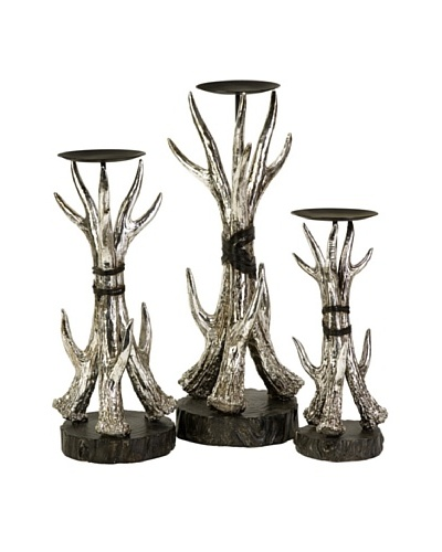 Set of 3 Antler Candle Holders