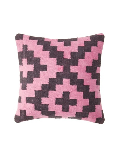 La Boheme Cotton Geo Plus Cushion, Pink/Black, 16 x 16
