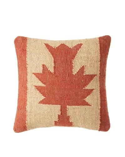 La Boheme Jute/Wool-Blend Flag Cushion, Yellow/Rust, 16″ x 16″