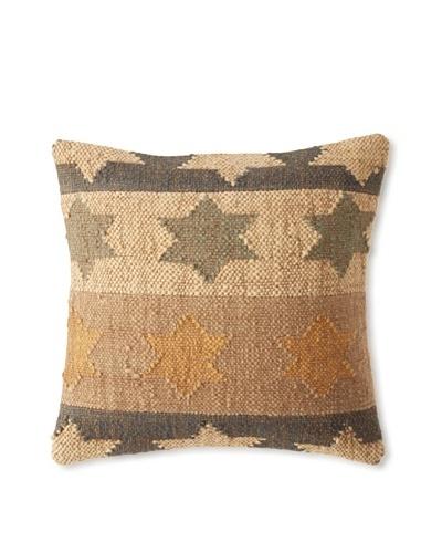 La Boheme Jute/Wool-Blend Flag Cushion, Natural/Slate, 16 x 16