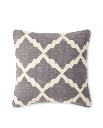 La Boheme Cotton Tile Cushion, Off-White/Slate, 16 x 16