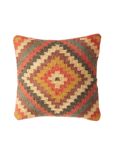 La Boheme Jute/Wool-Blend Geo Diamond Cushion, Multi, 16 x 16