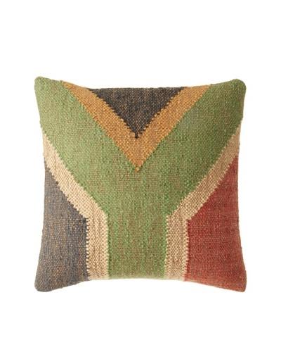 La Boheme Jute/Wool-Blend Flag Cushion, Natural/Multi, 16″ x 16″