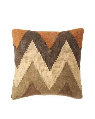 La Boheme Jute/Wool-Blend Chevron Cushion, Natural/Multi, 16 x 16