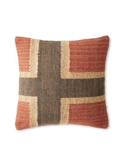 "La Boheme Jute/Wool-Blend Flag Cushion, Natural/Multi, 17"" x 17"""