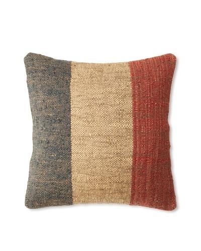 La Boheme Jute/Wool-Blend Flag Cushion, Natural/Multi, 18 x 18