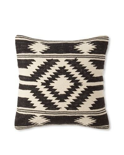 La Boheme Cotton Tribal Cushion, Off-White/Black, 16″ x 16″