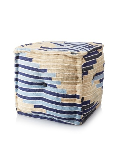 La Boheme Hand-Woven Cotton Multi-Stripe Cube Pouf, Multi