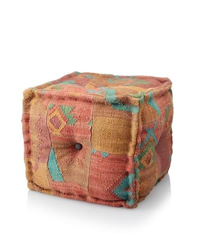 La Boheme Hand-Woven Jute/Wool-Blend Patchwork Cube Pouf, Warm Multi